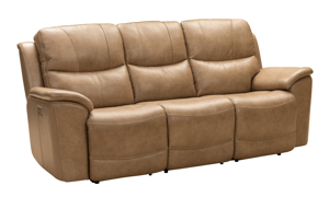 Kaden leather power reclining sofa in a neutral taupe color from Barcalounger.