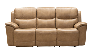 Dual leather power reclining sofa in a neutral taupe color from Barcalounger.