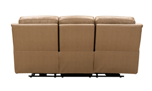 88-Inch neutral leather reclining sofa.