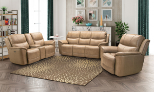 Kaden leather power reclining living room set in a neutral taupe color from Barcalounger.