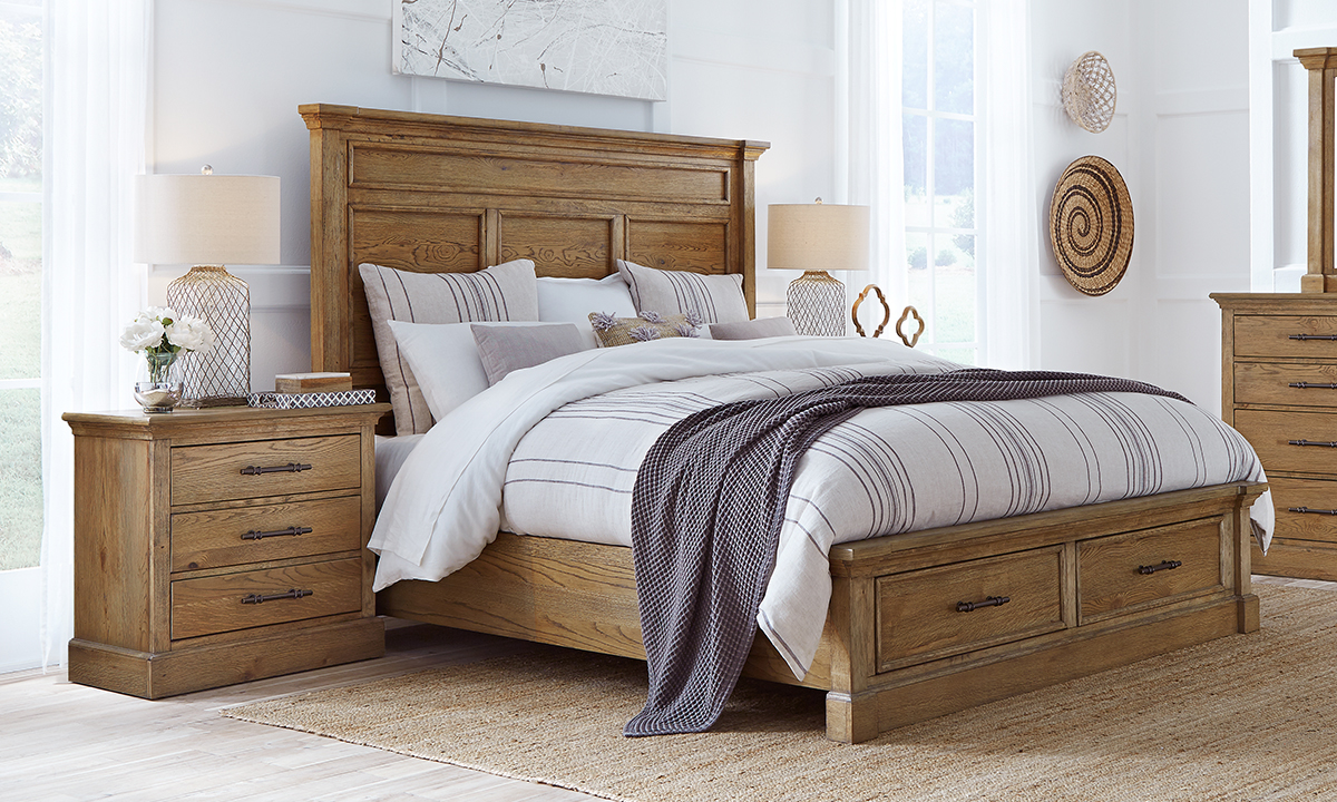 Aspenhome bedroom set includes king size storage bed and matching nighstands.