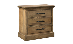 Manchester Oak nighstand from Aspenhome has three drawers and power outlets.