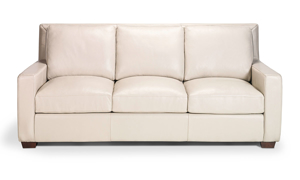 Top-grain leather sofa from Rocky Mountain Leather in a bone hue.