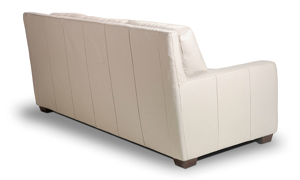 Contemporary couch with track arms made of top quality leather.