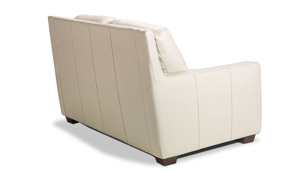 Contemporary loveseat with track arms made of top quality leather.