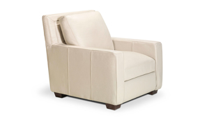 Top-grain leather chair from Rocky Mountain Leather in a pebble bone hue.
