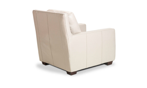 Contemporary chair with track arms made of top quality leather.