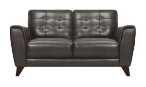 Retro loveseat with button tufing in a pewter colored leather.