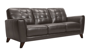 Top-grain leather sofa with button tufting from Violino Furniture in a Pewter hue.