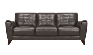 Retro couch with button tufing in a pewter colored leather.