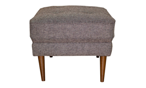 Mid-century modern ottoman with button tufting in a brown upholstery.