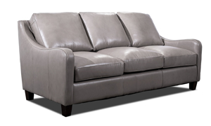 Grey leather sofa from Rocky Mountain Leather company.