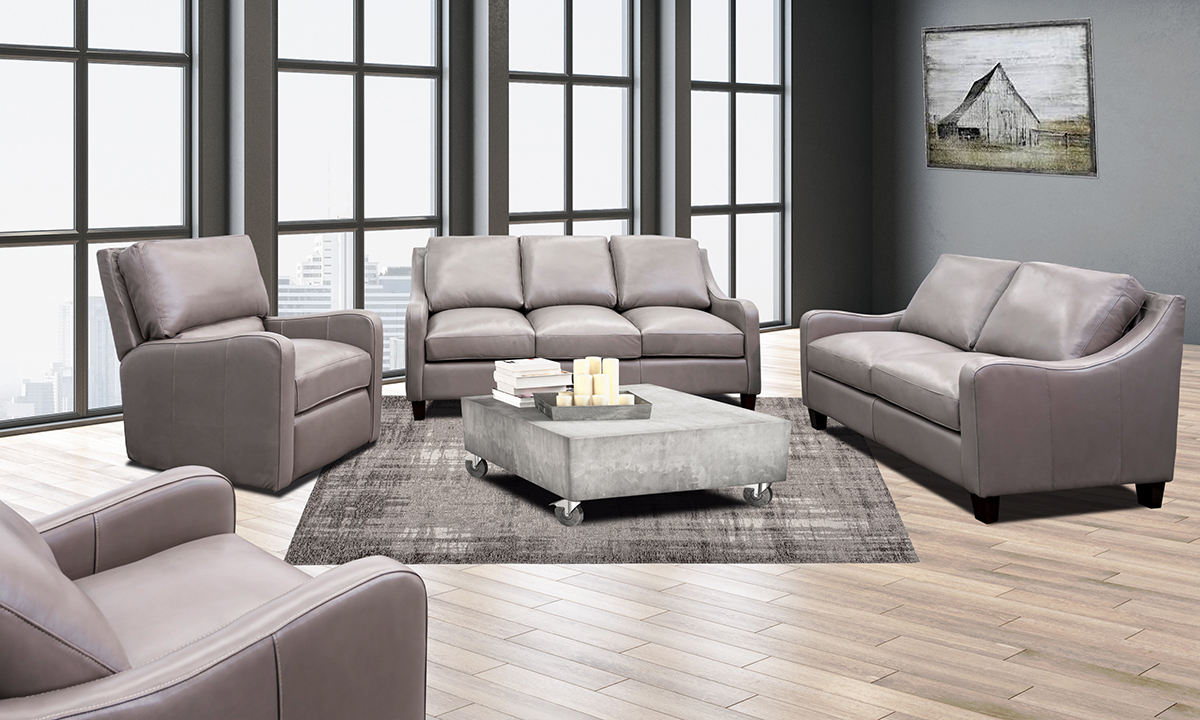 American made living room set from the Kennard Collection by Rocky Mountain Leather in grey.