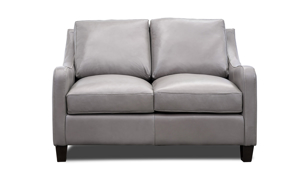 """54"""" wide top-grain leather loveseat in a neutral grey tone."""