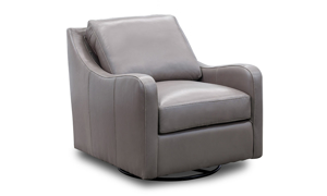 """31"""" wide top-grain leather swivel chair in a neutral grey tone."""