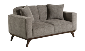 """64"""" wide grey sofa from Behold Home with matching throw pillows."""
