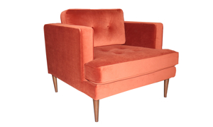 Accent chair constructed with a hardwood fram and polyester velvet fabric.