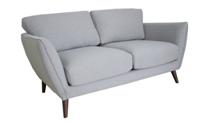 Mid-century loveseat with flare arms in grey upholstery.