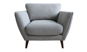 Accent chair in a neutral grey upholstery.