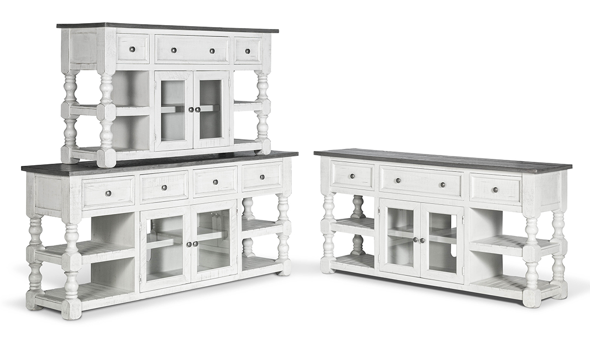Media console with drawers, cabinets and shelves.