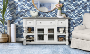 Farmhouse style entertainment console with lots of storage.