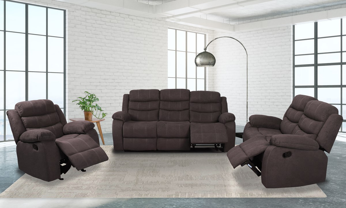 Brown living room set includes sofa, loveseat and recliner.