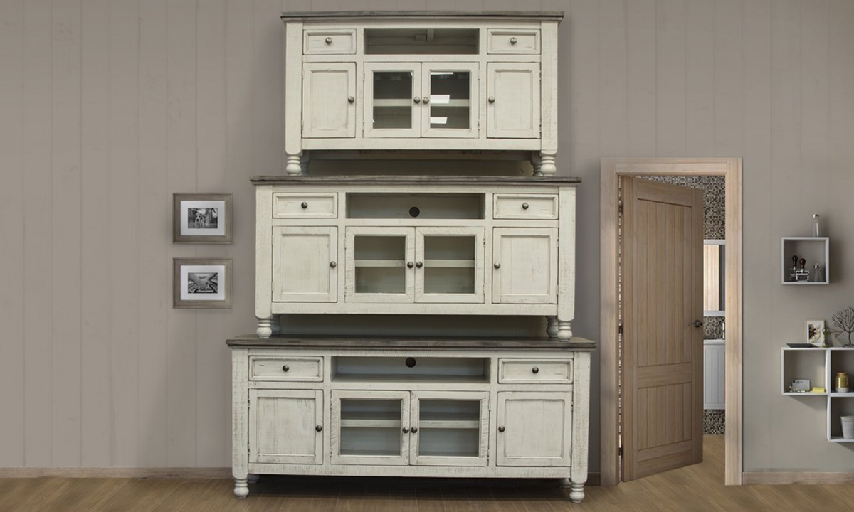 Solid wood entertainment consoles available in three sizes.