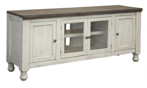 Wooden media console with 4 cabinets.