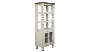 Farmhouse style bookcase with a hand-rubbed ivory and grey wood finish.