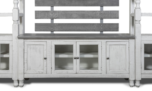 Farmhouse media console with hand-rubbed ivory and grey wood finish.