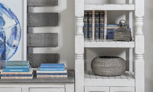 Open storage shelves on the bookcase from IFD Furniture.