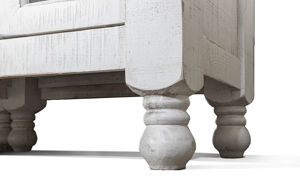 Round bun feet on the Stone Ivory and Grey Bookcase.