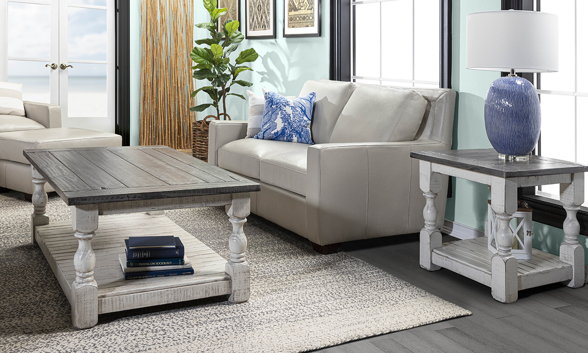 Farmhouse inspired coffee table and end table set.