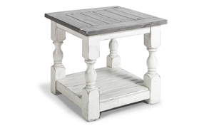 """26"""" wide end table from IFD Furinture in Stone Ivory and Grey finish."""