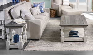 Farmhouse inspired coffee table and chairside table set.