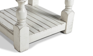 End table in neutral colors of white and gray.