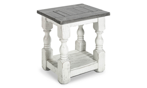 """18"""" wide chairside table from IFD Furinture in Stone Ivory and Grey finish."""