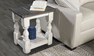 Cottage style end table in grey and white for your living room.
