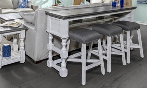 Bar table and 3 stools in a Stone Ivory and Grey finish.