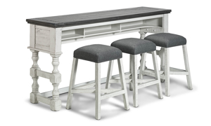 Solid wood bar table with 3 upholstered stools.