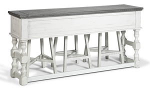Bar table can stand alone or lines up perfectly behind a couch to provide extra desk or dining spaces.