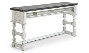 """76"""" wide bar table in neutral grey and white colors."""