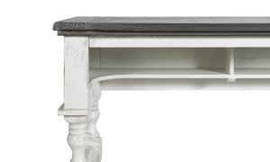 Weathered grey and ivory table made of solid pine.