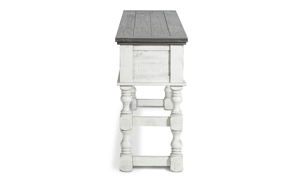 Contemporary bar table with lower footrest.