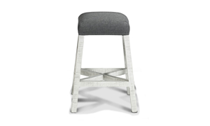 Upholstered barstool in neutral grey and white tones.