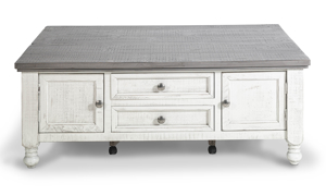 Coffee table from IFD Furniture in a neutral white and grey finish.