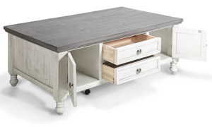 Coffee table in a traditional farmhouse style in neutral colors.