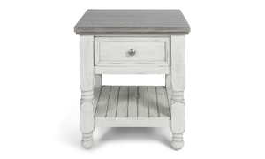 End Table with drawer and shelf in a stone ivory and grey finish.