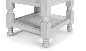 End table features a slatted open shelf.
