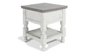 Farmhouse inspired end table makes a great statement in any living room.